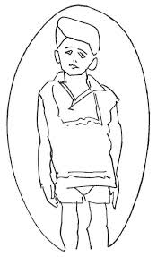 line drawing of a child pulling their reflection out from the mirror